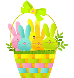 Easter basket with bunnies vector