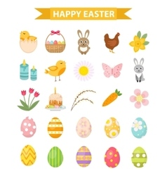 Easter icon set flat style Isolated on white vector