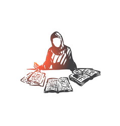 education muslim woman concept sketch hand vector image