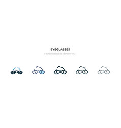 eyeglasses icon in different style two colored vector image