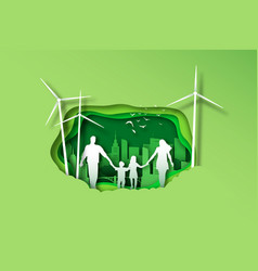 family walking together in papercut green city vector image