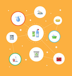 flat icons laundry garbage container aqua and vector image