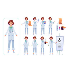 Flat woman doctor animation creation set vector