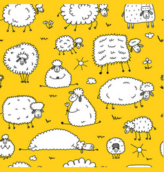Flock of sheeps seamless pattern for your design vector