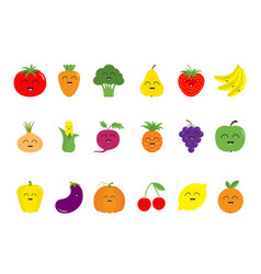 Fruit berry vegetable face icon set pear vector