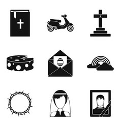 funeral icons set simple style vector image