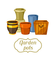 Garden pots background with various color vector
