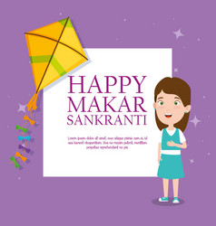 Girl with kite to celebrate makar sankranti event vector