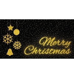 Glitter gold textured inscription Merry Christmas vector image