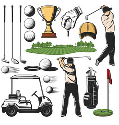 Golf sport items icons and player with play course vector
