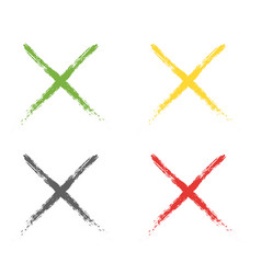 grunge letter x of different colors vector image