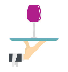 Hand holding tray with a glass of red wine icon vector