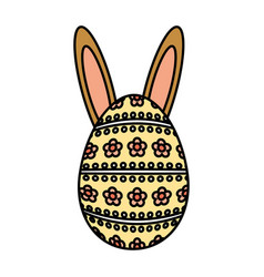 Happy easter egg painted with ears rabbit vector