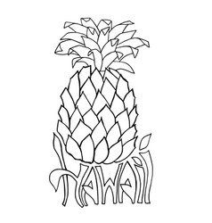 hawaii typography banner pineapple sketch vector image
