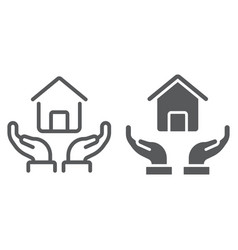 home in hands line and glyph icon real estate vector image