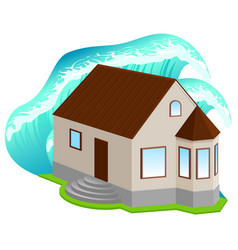 House insurance against floods high wave covered vector