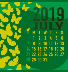 july 2019 calendar template with abstract vector image