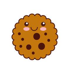 kawaii chocolate chip cookie dessert eating icon vector image