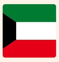 kuwait square flag button social media vector image