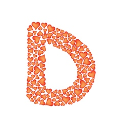 letter d made of valentines vector image vector image
