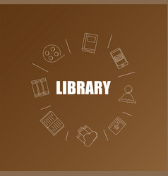 Library background from line icon vector