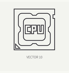 Line flat computer part icon processor vector