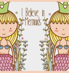 Little mermaids art cartoon vector