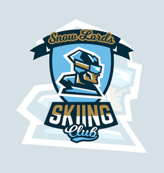 Logo skiing club emblem the skier faces in vector
