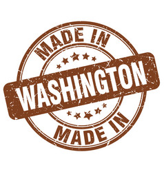 made in washington brown grunge round stamp vector image