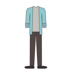 male clothes with sport jacket and gray pant and vector image