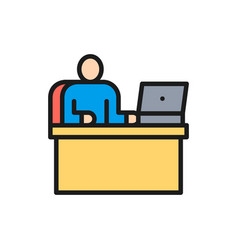 man at workplace office working boss flat vector image