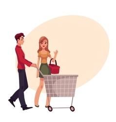 Man pushing shopping cart and woman holding basket vector