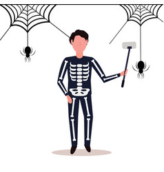 Man wearing skeleton costume taking selfie spider vector