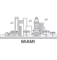 Miami architecture line skyline vector
