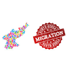 Migration composition of mosaic map of north korea vector
