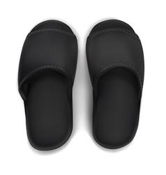 Mock up black slippers vector