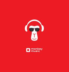 Monkey enjoys music relaxing vector