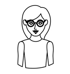 monochrome contour half body of woman with glasses vector image