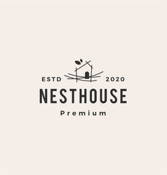 Nest house hipster vintage logo icon vector