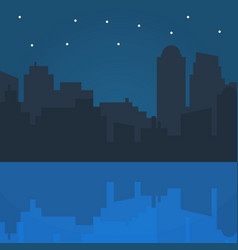 night city in flat style design vector image