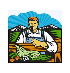 Organic Farmer Farm Produce Harvest Retro vector