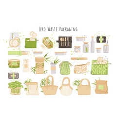 Organic zero waste reusable packaging paper boxes vector