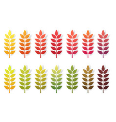 paper cut autumn leaves set fall leaves colorful vector image