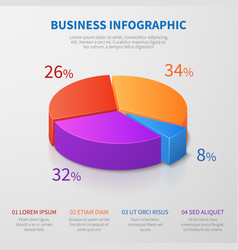 Pie chart 3d graph design with percentages vector