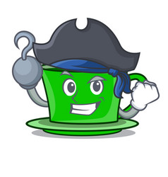 Pirate green tea character cartoon vector