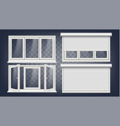 Plastic pvc window roller blind opened vector