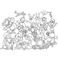 Playful children group coloring book vector