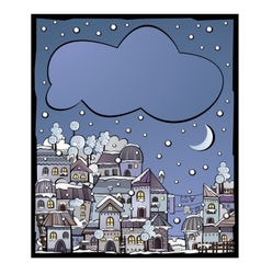 postcard with cartoon winter construction town vector image