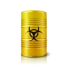 Realistic bright yellow big barrel with biohazard vector image
