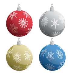 realistic christmas tree ornaments set vector image